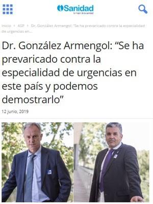 """Dr. González Armengol: """"Se ha prevaricado contra la especialidad de urgencias en este país y podemos demostrarlo"""" - iSanidad"""