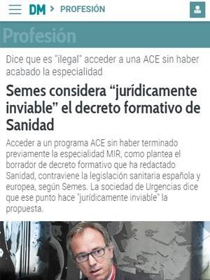 """Semes considera """"jurídicamente inviable"""" el decreto formativo de Sanidad - Diario Médico"""