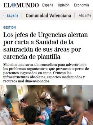 Los jefes de Urgencias alertan por carta a Sanidad de la saturación de sus áreas por carencia de plantilla - ELMUNDO