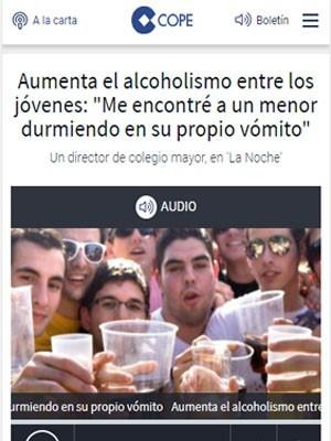 """Aumenta el alcoholismo entre los jóvenes: """"Me encontré a un menor durmiendo en su propio vómito"""" - Cope"""