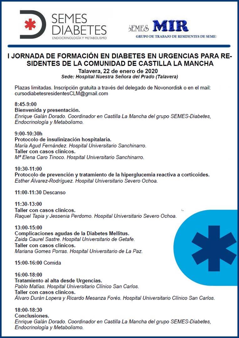 JORNADA DE FORMACIÓN EN DIABETES EN URGENCIAS PARA RESIDENTES DE LA COMUNIDAD DE CASTILLA LA MANCHA