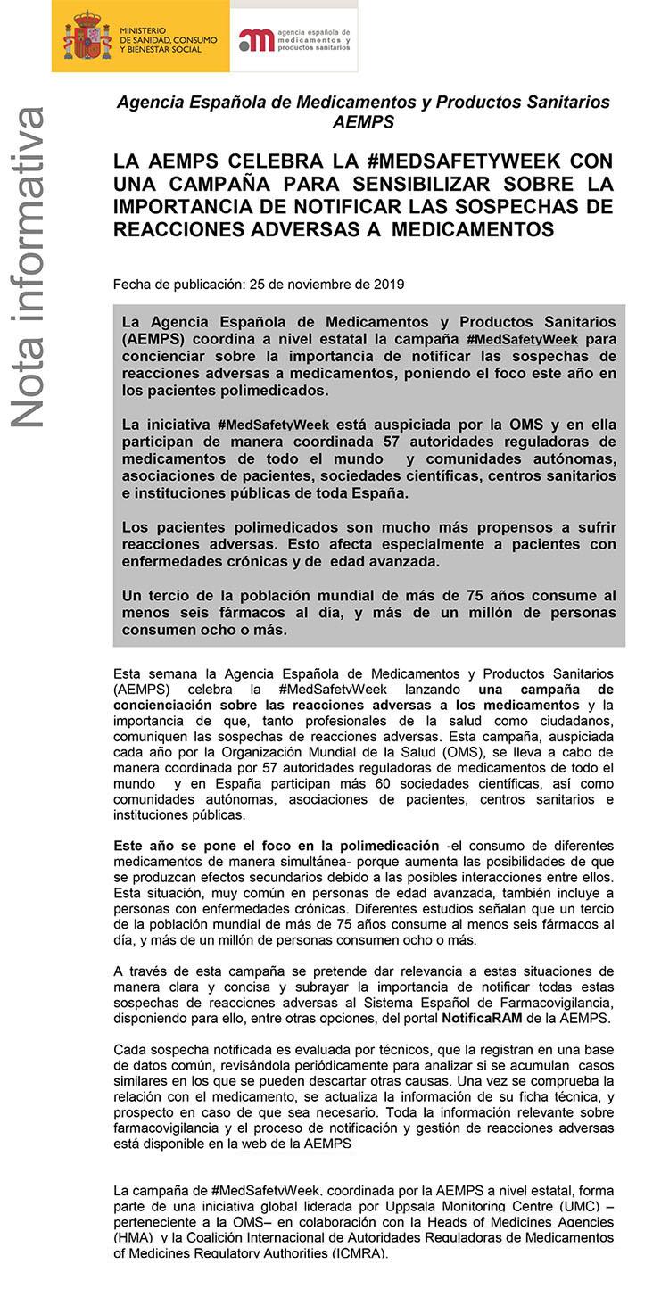Semes Colabora En La Campaña De Concienciación Lanzada Por La Agencia Española De Medicamentos Y Productos Sanitarios Aemps Semes