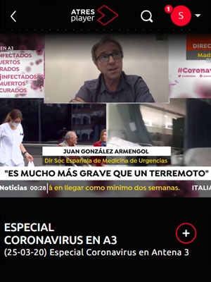 Juan Jorge Gonzalez Armengol en Especial Coronavirus en Antena 3