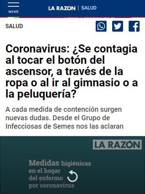 Coronavirus ¿Se contagia al tocar el botón del ascensor, a traves de la ropa o al ir al gimnasio o a la peluqueria? Rosa Perez