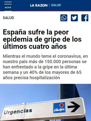España sufre la peor epidemia de gripe de los últimos cuatro años