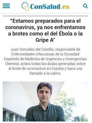 Estamos preparados para el coronavirus, ya nos enfrentamos a brotes como el del Ébola o la Gripe A
