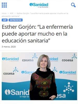 """Esther Gorjón: """"La enfermería puede aportar mucho en la educación sanitaria"""""""