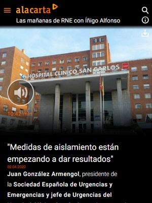 """Juan Jorge Gonzalez Armengol - RNE - """"Las medidas de aislamiento están empezando a dar resultados"""""""