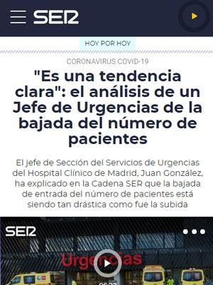 """""""Es una tendencia clara"""": el análisis de un Jefe de Urgencias de la bajada del número de pacientes"""