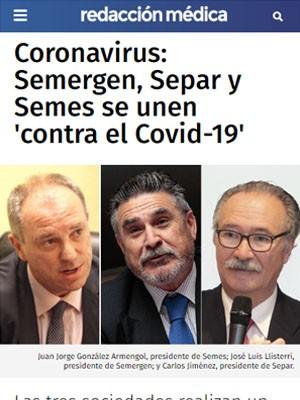 Coronavirus: Semergen, Separ y Semes se unen 'contra el Covid-19'