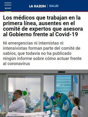 Los médicos que trabajan en la primera línea, ausentes en el comité de expertos que asesora al Gobierno frente al Covid-19
