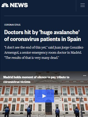 Doctors hit by 'huge avalanche' of coronavirus patients in Spain