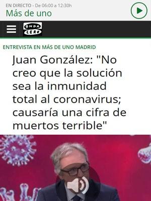 """Juan González: """"No creo que la solución sea la inmunidad total al coronavirus; causaría una cifra de muertos terrible"""""""