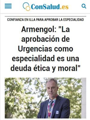 """Armengol: """"La aprobación de Urgencias como especialidad es una deuda ética y moral"""""""