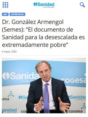 """Dr. González Armengol (Semes): """"El documento de Sanidad para la desescalada es extremadamente pobre"""""""