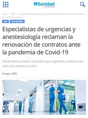 Especialistas de urgencias y anestesiología reclaman la renovación de contratos ante la pandemia de Covid-19