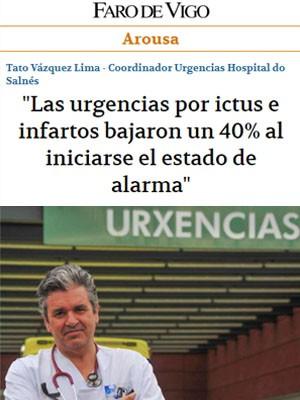 """""""Las urgencias por ictus e infartos bajaron un 40% al iniciarse el estado de alarma"""""""