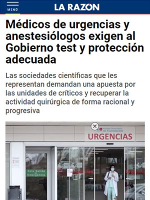 Médicos de urgencias y anestesiólogos exigen al Gobierno test y protección adecuada
