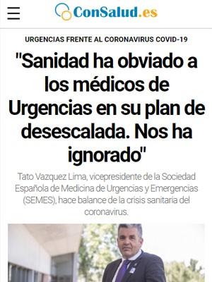"""""""Sanidad ha obviado a los médicos de Urgencias en su plan de desescalada. Nos ha ignorado"""""""