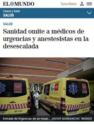 Sanidad omite a médicos de urgencias y anestesistas en la desescalada