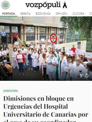 Dimisiones en bloque en Urgencias del Hospital Universitario de Canarias por el cese de su coordinador