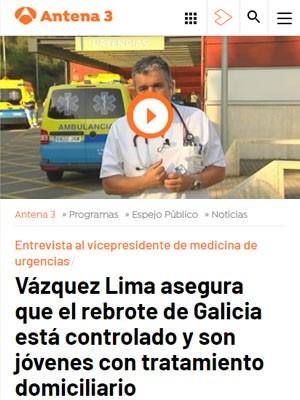 Vázquez Lima asegura que el rebrote de Galicia está controlado y son jóvenes con tratamiento domiciliario