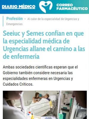 Seeiuc y Semes confían en que la especialidad médica de Urgencias allane el camino a las de enfermería