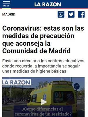 Coronavirus: estas son las medidas de precaución que aconseja la Comunidad de Madrid