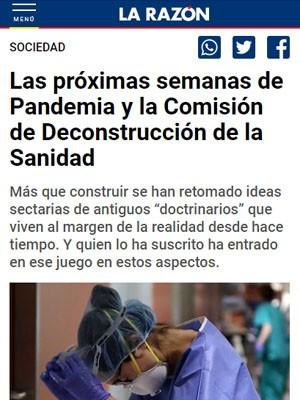 Las próximas semanas de Pandemia y la Comisión de Deconstrucción de la Sanidad