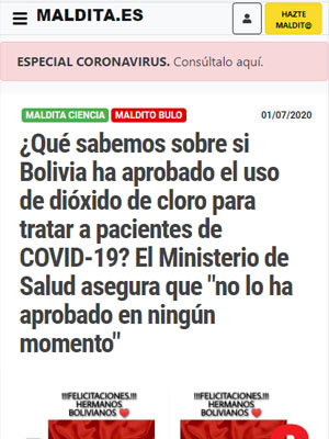 """¿Qué sabemos sobre si Bolivia ha aprobado el uso de dióxido de cloro para tratar a pacientes de COVID-19? El Ministerio de Salud asegura que """"no lo ha aprobado en ningún momento"""""""
