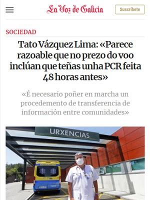 Tato Vázquez Lima: «Parece razoable que no prezo do voo inclúan que teñas unha PCR feita 48 horas antes»