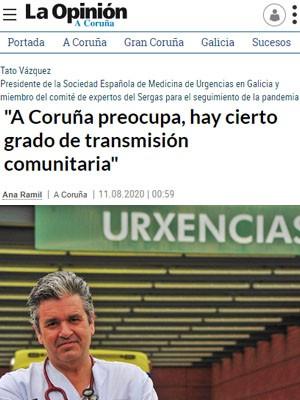 """""""A Coruña preocupa, hay cierto grado de transmisión comunitaria"""""""