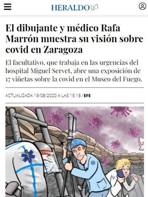 El dibujante y médico Rafa Marrón muestra su visión sobre covid en Zaragoza