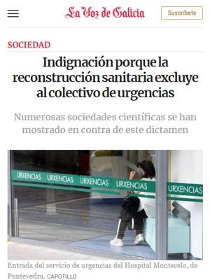 Indignación porque la reconstrucción sanitaria excluye al colectivo de urgencias