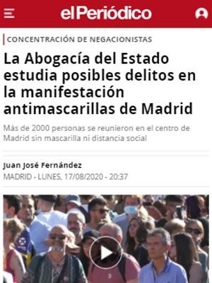 La Abogacía del Estado estudia posibles delitos en la manifestación antimascarillas de Madrid