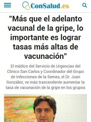 """""""Más que el adelanto vacunal de la gripe, lo importante es lograr tasas más altas de vacunación"""""""
