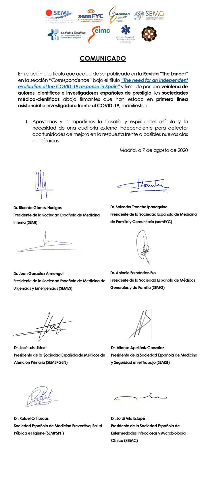 """SEMES se adhiere al comunicado conjunto sobre el artículo publicado en la revista The Lancet """"la necesidad de una evaluación independiente de la respuesta al Covid-19 en España"""""""