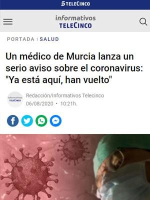 """Un médico de Murcia lanza un serio aviso sobre el coronavirus: """"Ya está aquí, han vuelto"""""""