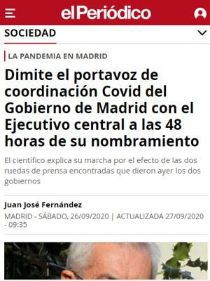 Dimite el portavoz de coordinación Covid del Gobierno de Madrid con el Ejecutivo central a las 48 horas de su nombramiento
