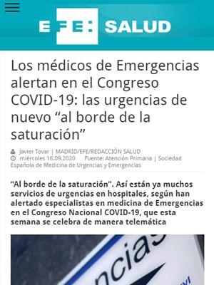 """Los médicos de Emergencias alertan en el Congreso COVID-19: las urgencias de nuevo """"al borde de la saturación"""""""