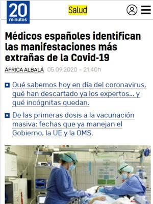 Médicos españoles identifican las manifestaciones más extrañas de la Covid-19