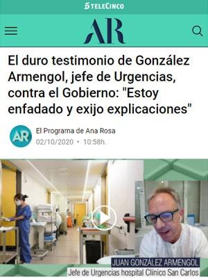 """El duro testimonio de González Armengol, jefe de Urgencias, contra el Gobierno: """"Estoy enfadado y exijo explicaciones"""""""
