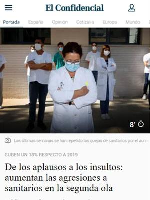De los aplausos a los insultos: aumentan las agresiones a sanitarios en la segunda ola