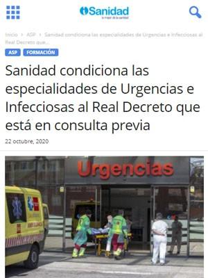 Sanidad condiciona las especialidades de Urgencias e Infecciosas al Real Decreto que está en consulta previa