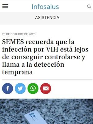SEMES recuerda que la infección por VIH está lejos de conseguir controlarse y llama a la detección temprana