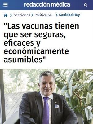 """""""Las vacunas tienen que ser seguras, eficaces y económicamente asumibles"""""""