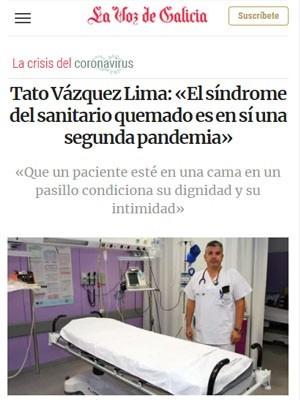 Tato Vázquez Lima: «El síndrome del sanitario quemado es en sí una segunda pandemia»