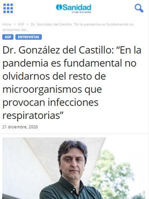 """Dr. González del Castillo: """"En la pandemia es fundamental no olvidarnos del resto de microorganismos que provocan infecciones respiratorias"""""""