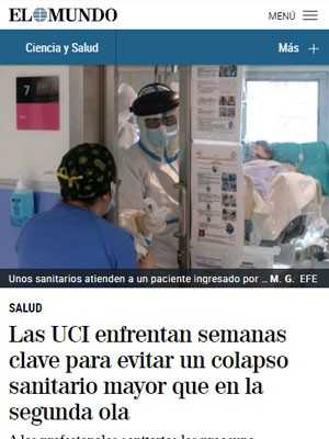 Las UCI enfrentan semanas clave para evitar un colapso sanitario mayor que en la segunda ola