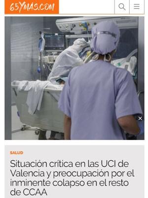 Situación crítica en las UCI de Valencia y preocupación por el inminente colapso en el resto de CCAA